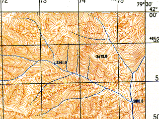 Reduced fragment of topographic map ru--gs--050k--k44-075-2--N042-00_E079-15--N041-50_E079-30