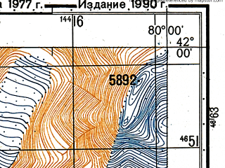Reduced fragment of topographic map ru--gs--050k--k44-076-2--N042-00_E079-45--N041-50_E080-00