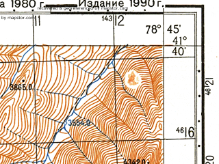 Reduced fragment of topographic map ru--gs--050k--k44-086-1--N041-40_E078-30--N041-30_E078-45