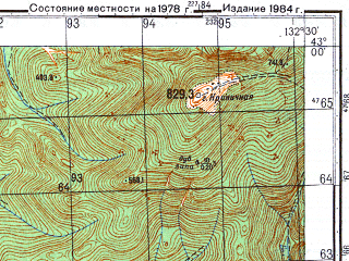 Reduced fragment of topographic map ru--gs--050k--k53-037-2--N043-00_E132-15--N042-50_E132-30; towns and cities Putyatin, Dunay