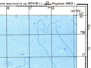 Reduced fragment of topographic map ru--gs--050k--k55-016-4--N043-30_E145-45--N043-20_E146-00
