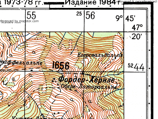 Reduced fragment of topographic map ru--gs--050k--l32-032-1--N047-20_E009-30--N047-10_E009-45; towns and cities Feldkirch, Rankweil