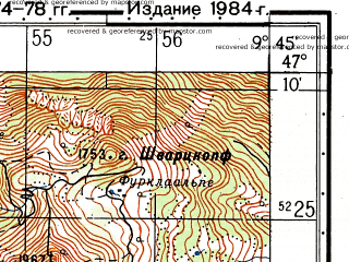 Reduced fragment of topographic map ru--gs--050k--l32-032-3--N047-10_E009-30--N047-00_E009-45; towns and cities Vaduz