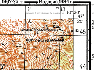 Reduced fragment of topographic map ru--gs--050k--l32-033-2--N047-20_E010-15--N047-10_E010-30