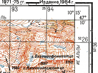 Reduced fragment of topographic map ru--gs--050k--l32-033-3--N047-10_E010-00--N047-00_E010-15