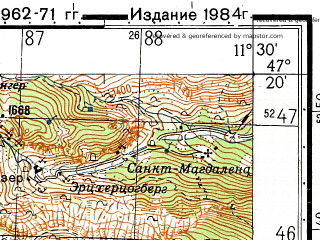 Reduced fragment of topographic map ru--gs--050k--l32-035-2--N047-20_E011-15--N047-10_E011-30; towns and cities Innsbruck