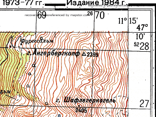 Reduced fragment of topographic map ru--gs--050k--l32-035-3--N047-10_E011-00--N047-00_E011-15