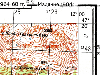 Reduced fragment of topographic map ru--gs--050k--l32-036-2--N047-20_E011-45--N047-10_E012-00; towns and cities Mayrhofen