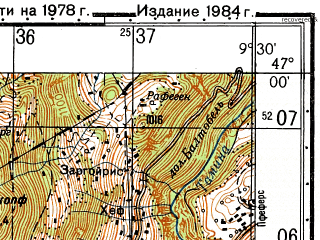 Reduced fragment of topographic map ru--gs--050k--l32-043-2--N047-00_E009-15--N046-50_E009-30