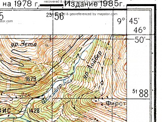 Reduced fragment of topographic map ru--gs--050k--l32-044-3--N046-50_E009-30--N046-40_E009-45