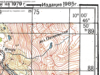 Reduced fragment of topographic map ru--gs--050k--l32-044-4--N046-50_E009-45--N046-40_E010-00; towns and cities Davos