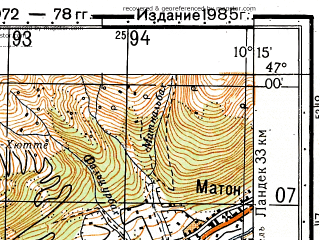 Reduced fragment of topographic map ru--gs--050k--l32-045-1--N047-00_E010-00--N046-50_E010-15