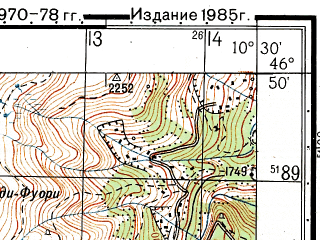 Reduced fragment of topographic map ru--gs--050k--l32-045-4--N046-50_E010-15--N046-40_E010-30; towns and cities Scuol