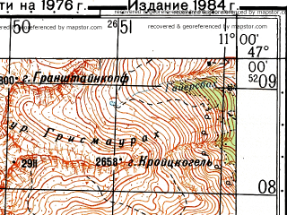 Reduced fragment of topographic map ru--gs--050k--l32-046-2--N047-00_E010-45--N046-50_E011-00