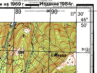 Reduced fragment of topographic map ru--gs--050k--l32-047-4--N046-50_E011-15--N046-40_E011-30