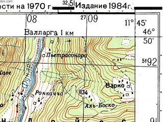 Reduced fragment of topographic map ru--gs--050k--l32-048-3--N046-50_E011-30--N046-40_E011-45; towns and cities Bressanone