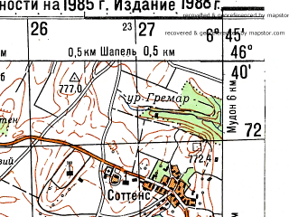 Reduced fragment of topographic map ru--gs--050k--l32-050-1--N046-40_E006-30--N046-30_E006-45; towns and cities Lausanne