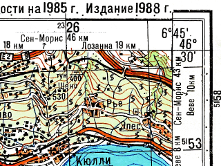 Reduced fragment of topographic map ru--gs--050k--l32-050-3--N046-30_E006-30--N046-20_E006-45; towns and cities Evian