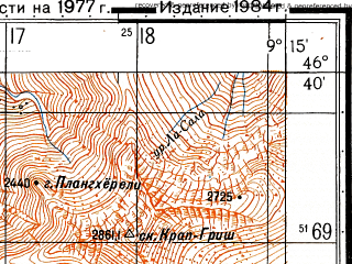 Reduced fragment of topographic map ru--gs--050k--l32-055-1--N046-40_E009-00--N046-30_E009-15