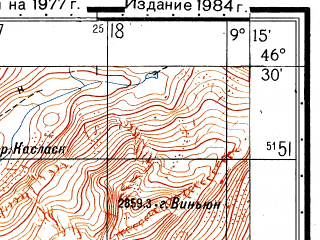 Reduced fragment of topographic map ru--gs--050k--l32-055-3--N046-30_E009-00--N046-20_E009-15