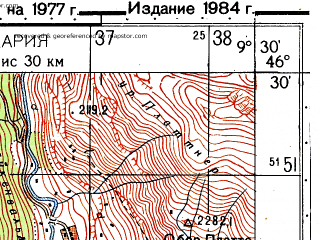 Reduced fragment of topographic map ru--gs--050k--l32-055-4--N046-30_E009-15--N046-20_E009-30