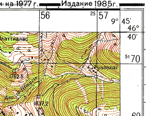 Reduced fragment of topographic map ru--gs--050k--l32-056-1--N046-40_E009-30--N046-30_E009-45