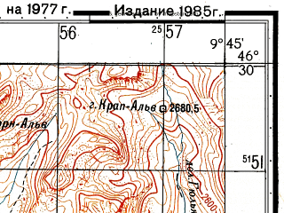 Reduced fragment of topographic map ru--gs--050k--l32-056-3--N046-30_E009-30--N046-20_E009-45
