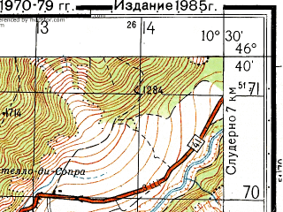 Reduced fragment of topographic map ru--gs--050k--l32-057-2--N046-40_E010-15--N046-30_E010-30