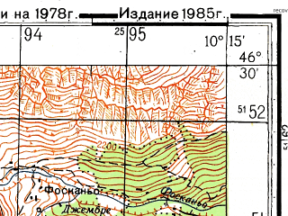 Reduced fragment of topographic map ru--gs--050k--l32-057-3--N046-30_E010-00--N046-20_E010-15