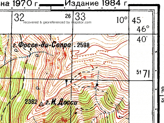 Reduced fragment of topographic map ru--gs--050k--l32-058-1--N046-40_E010-30--N046-30_E010-45; towns and cities Prato Allo Stelvio