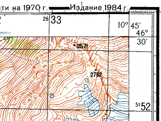 Reduced fragment of topographic map ru--gs--050k--l32-058-3--N046-30_E010-30--N046-20_E010-45
