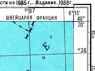 Reduced fragment of topographic map ru--gs--050k--l32-061-1--N046-20_E006-00--N046-10_E006-15; towns and cities Geneva