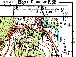 Reduced fragment of topographic map ru--gs--050k--l32-061-3--N046-10_E006-00--N046-00_E006-15; towns and cities St.-julien