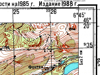 Reduced fragment of topographic map ru--gs--050k--l32-062-1--N046-20_E006-30--N046-10_E006-45