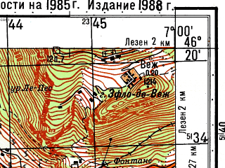 Reduced fragment of topographic map ru--gs--050k--l32-062-2--N046-20_E006-45--N046-10_E007-00; towns and cities Monthey, Aigle