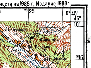Reduced fragment of topographic map ru--gs--050k--l32-062-3--N046-10_E006-30--N046-00_E006-45; towns and cities Cluses