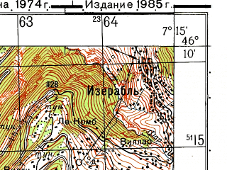 Reduced fragment of topographic map ru--gs--050k--l32-063-3--N046-10_E007-00--N046-00_E007-15; towns and cities Martigny-ville