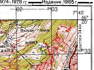 Reduced fragment of topographic map ru--gs--050k--l32-064-1--N046-20_E007-30--N046-10_E007-45; towns and cities Sierre