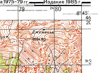 Reduced fragment of topographic map ru--gs--050k--l32-066-1--N046-20_E008-30--N046-10_E008-45