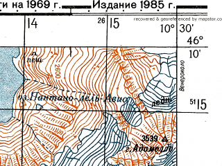 Reduced fragment of topographic map ru--gs--050k--l32-069-4--N046-10_E010-15--N046-00_E010-30
