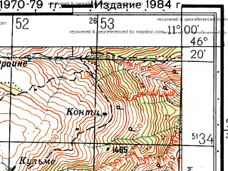Reduced fragment of topographic map ru--gs--050k--l32-070-2--N046-20_E010-45--N046-10_E011-00