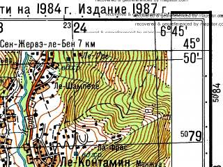 Reduced fragment of topographic map ru--gs--050k--l32-074-3--N045-50_E006-30--N045-40_E006-45