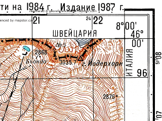 Reduced fragment of topographic map ru--gs--050k--l32-076-2--N046-00_E007-45--N045-50_E008-00; towns and cities Alagna Valsesia
