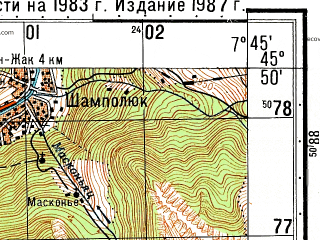 Reduced fragment of topographic map ru--gs--050k--l32-076-3--N045-50_E007-30--N045-40_E007-45; towns and cities Saint Vincent