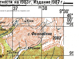Reduced fragment of topographic map ru--gs--050k--l32-079-2--N046-00_E009-15--N045-50_E009-30; towns and cities Lecco