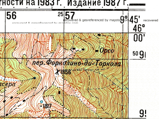 Reduced fragment of topographic map ru--gs--050k--l32-080-1--N046-00_E009-30--N045-50_E009-45; towns and cities Lenna