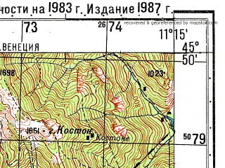 Reduced fragment of topographic map ru--gs--050k--l32-083-3--N045-50_E011-00--N045-40_E011-15