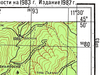 Reduced fragment of topographic map ru--gs--050k--l32-083-4--N045-50_E011-15--N045-40_E011-30; towns and cities Schio, Piovene Rocchette