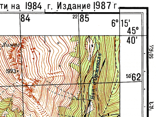 Reduced fragment of topographic map ru--gs--050k--l32-085-1--N045-40_E006-00--N045-30_E006-15