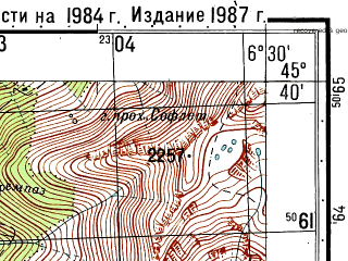 Reduced fragment of topographic map ru--gs--050k--l32-085-2--N045-40_E006-15--N045-30_E006-30
